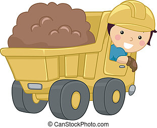 Illustration of a Smiling Kid Operating a Dump Truck