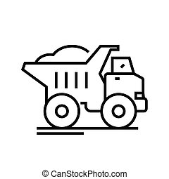 Dump truck line icon, concept sign, outline vector illustration, linear symbol.