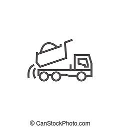 Dump truck thick line icon with pointed corners and edges for web, mobile and infographics. Vector isolated icon.