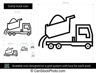 Dump truck line icon. - Dump truck vector line icon isolated...