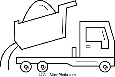 Dump truck vector line icon isolated on white background. Dump truck line icon for infographic, website or app. Icon designed on a grid system.