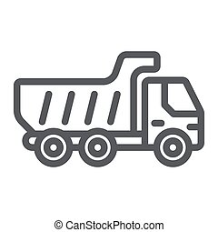 Dump truck line icon, transport and automobile, tipper truck sign, vector graphics, a linear pattern on a white background.