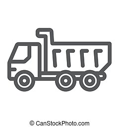 Dump truck line icon, vehicle and construction, car sign, vector graphics, a linear pattern on a white background.
