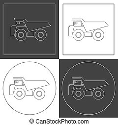 Dump truck line icons.