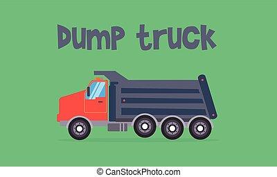Dump truck of vector flat