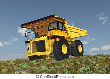 Dump Truck on a dirt road - Computer generated 3D...