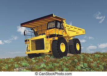 Dump Truck on a dirt road - Computer generated 3D...