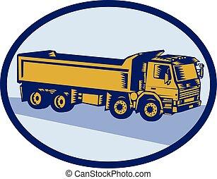 Dump Truck Oval Woodcut - Illustration of a dump truck ...