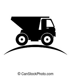 dump truck silhouette icon vector illustration design