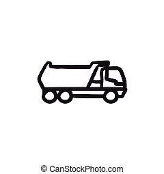 Dump truck sketch icon. - Dump truck vector sketch icon...