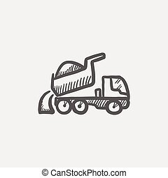 Dump truck sketch icon for web and mobile. Hand drawn vector...