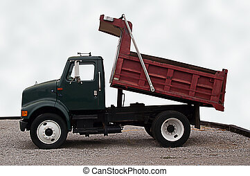 Small size dump truck with red tipper