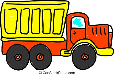 dump truck isolated on white drawn in toddler art style