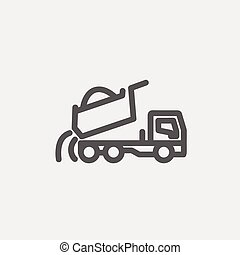 Dump truck thin line icon - Dump truck icon thin line for...