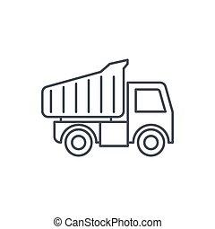 dump truck thin line icon. Linear vector symbol - dump truck...