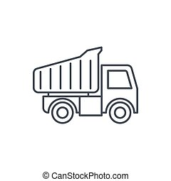 dump truck thin line icon. Linear vector symbol