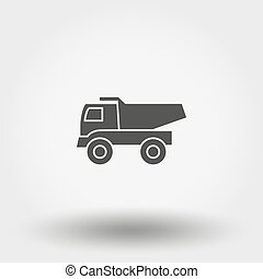Dump truck Toy. Icon. Vector. Silhouette. Flat design