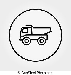 Dump truck Toy. Universal Icon. Vector. Editable Thin line.