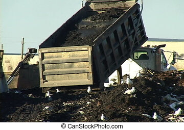 Dump truck raises the bed and dumps a load of dirt at a landfill.