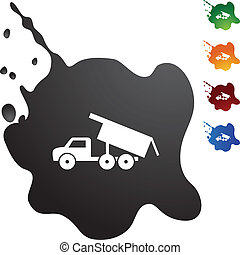 Dump Truck web button isolated on a background.