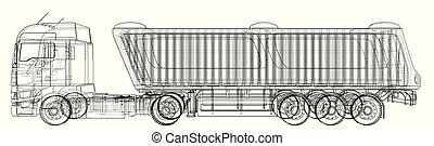 Dump truck vector illustration. Isolated white. Created illustration of 3d. Wire-frame