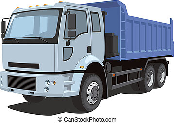 Dump truck - Vector isolated dump truck on white background ...