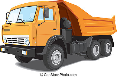 Vector isolated dump truck on white background, without gradients