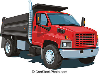 Vector isolated red dump truck on white background without gradients and transparency EPS8 format.