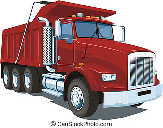 Dump truck - Vector isolated red dump truck on white ...