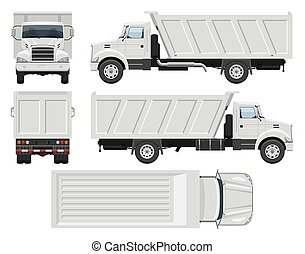 Dump truck vector template. Vehicle branding mockup side, front, back, top view