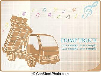 Dump truck web icon, flat design
