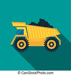 Dump truck with coal icon, flat style