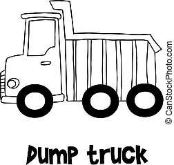 Dump truck with hand draw vector