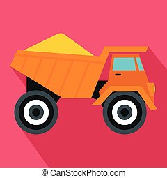 Dump truck with sand icon, flat style - Dump truck with sand...