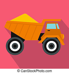 Dump truck with sand icon, flat style