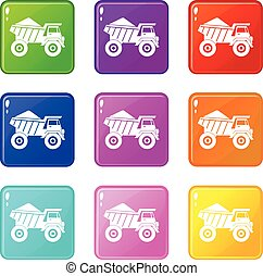 Dump truck with sand icons 9 set
