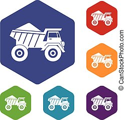 Dump truck with sand icons set