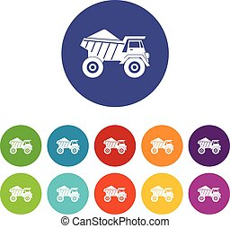 Dump truck with sand set icons