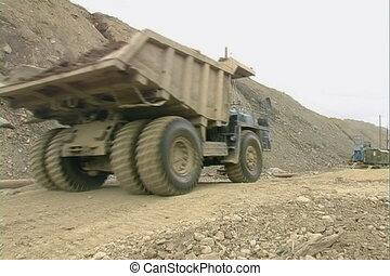 Dump trucks.