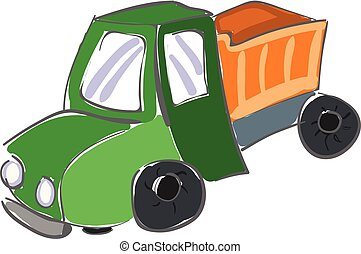 Dump truck/The colorful painting of the large goods vehicle, truck/Semi-tractor trailers, vector or color illustration.