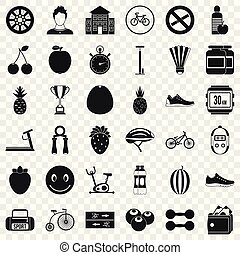 Dumpbell icons set. Simple style of 36 dumpbell vector icons for web for any design