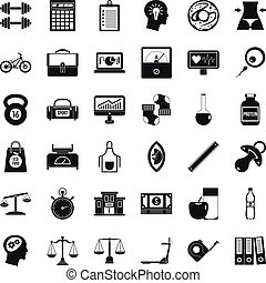 Dumpbell icons set. Simple style of 36 dumpbell vector icons for web isolated on white background