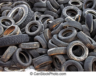 Dumped Tires - A lot of dumped tires in a landfill