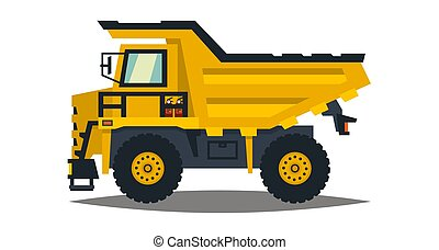 Dumper. Big car. Yellow truck. Isolated on white background. Flat style
