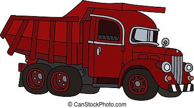 dumper, camion rouge, vieux