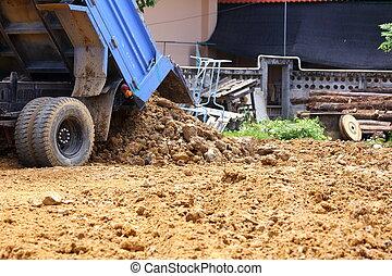 Dumper car working in construction site
