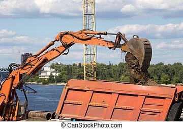 dumper, excavateur, sable, chargement, camion