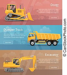 Dumper, Excavator, Dozer. Web Banners. Highly detailed vector illustration.