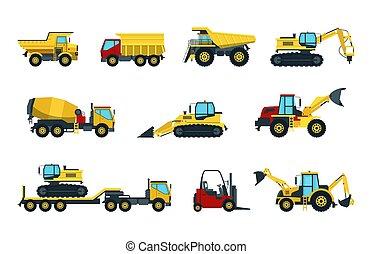 dumper, rolo, escavadora, misturador, caminhão, escavador