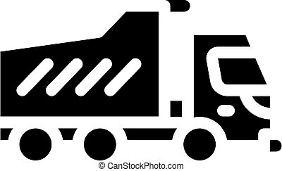 dumper truck glyph icon vector isolated illustration